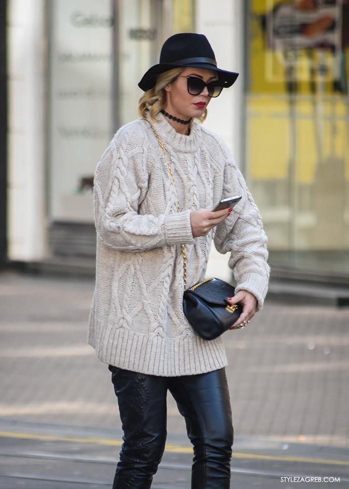 Street style Zagreb, moda zima 2016. kako nositi choker, komotni džemper, kožne hlače, crni šešir, crveni ruž
