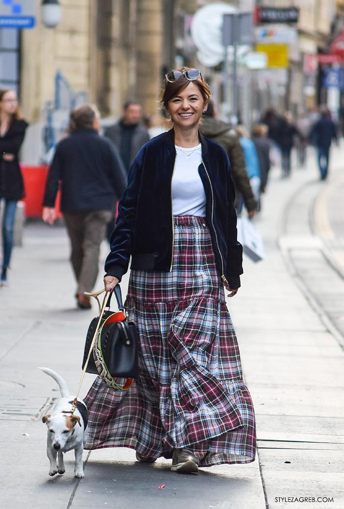 Moda jesen zima 2016 street style Zagreb, špica, duga karirana suknja i plava baršunasta jakna Sandro Paris, Ivana Vojtkuf Schmidt Instagram, Ilica Zara