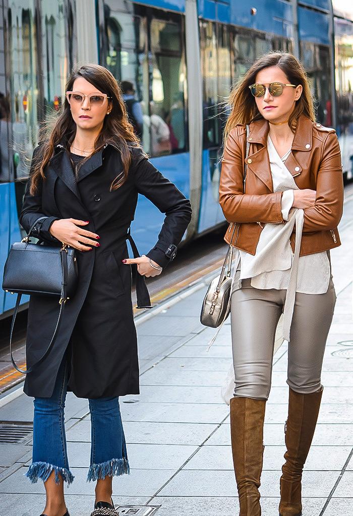 Moda jesen zima 2016 street style Zagreb, špica, fenirana duga frizura, kombinacija crni baloner i kratke Zara traperice za razderanim rubom, mini elegantna ženska torbica
