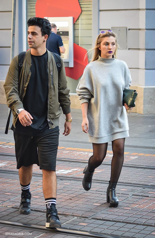 Par ženska muška moda jesen 2016 street style Zagreb ulična moda modna kombinacija zelena bomber jakna, siva haljina minica
