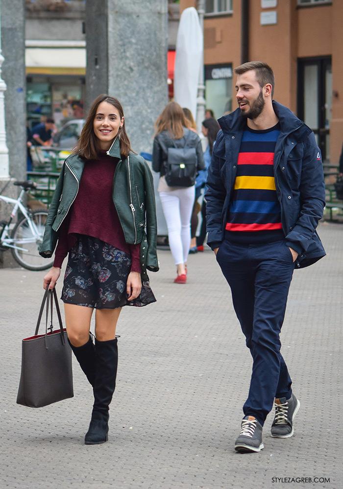 Zara zelena kožna bajkerska jakna, Par ženska muška moda jesen 2016 street style Zagreb ulična moda modna kombinacija minica i visoke čizme
