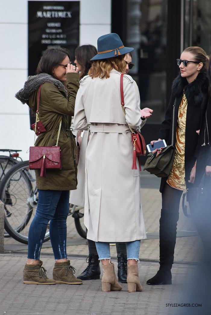 street style Zagreb ulična moda jesen zima 2016 kombinacija dugi baloner, traperice jeasn podernaog ruba, šešir, Rijana Hadžić street style look, Nohaa torbice