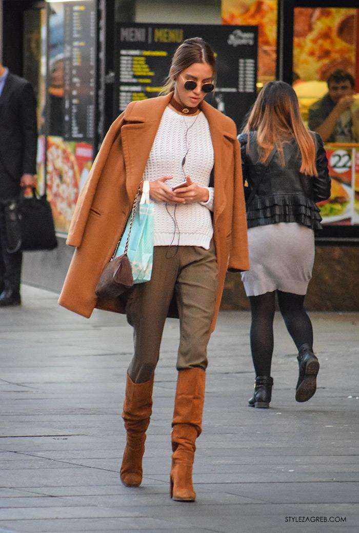 Model Lućana Mirko, kombinacija kaput i visoke čizme boje karamela, choker s privjeskom,kaputi moda zima 2016 Street Style Zagreb, jednostavni jesenski styling