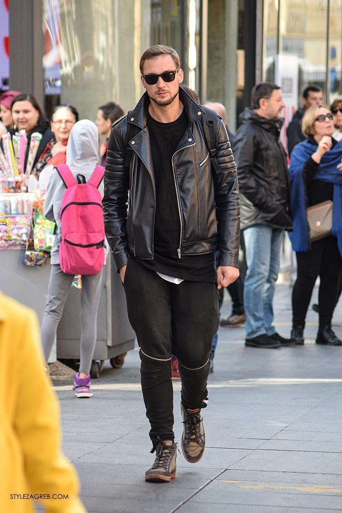 Mens styling, men fashion designer, top street fashion blogs, fashion styling tips Street Style Zagreb muška moda crna bajkerska jakna