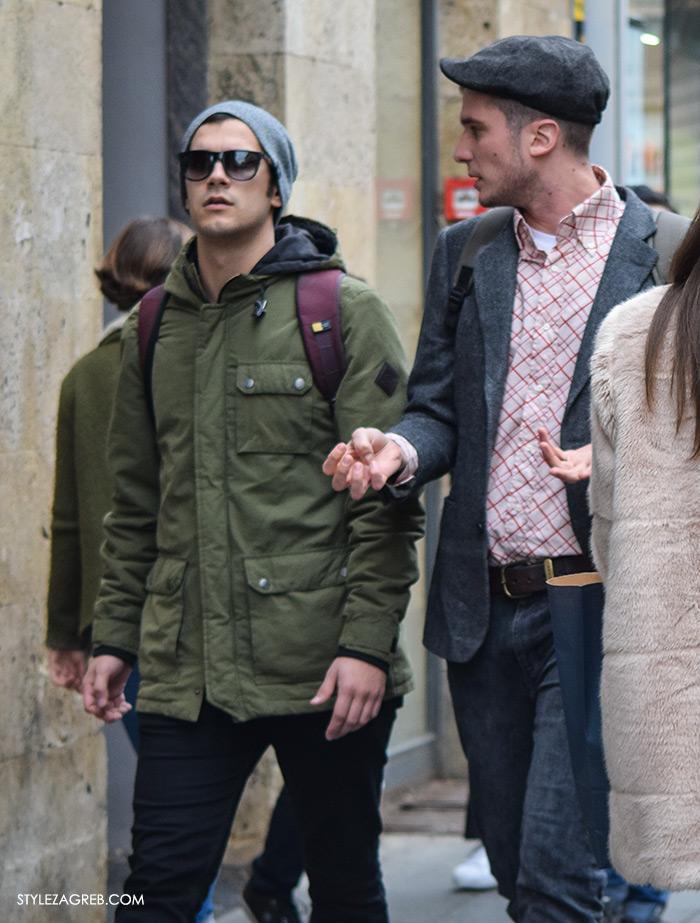 Street Style Zagreb muška ulična moda jesen zima kombinacija vojnička jakna, sunčane naočale, siva kapa,