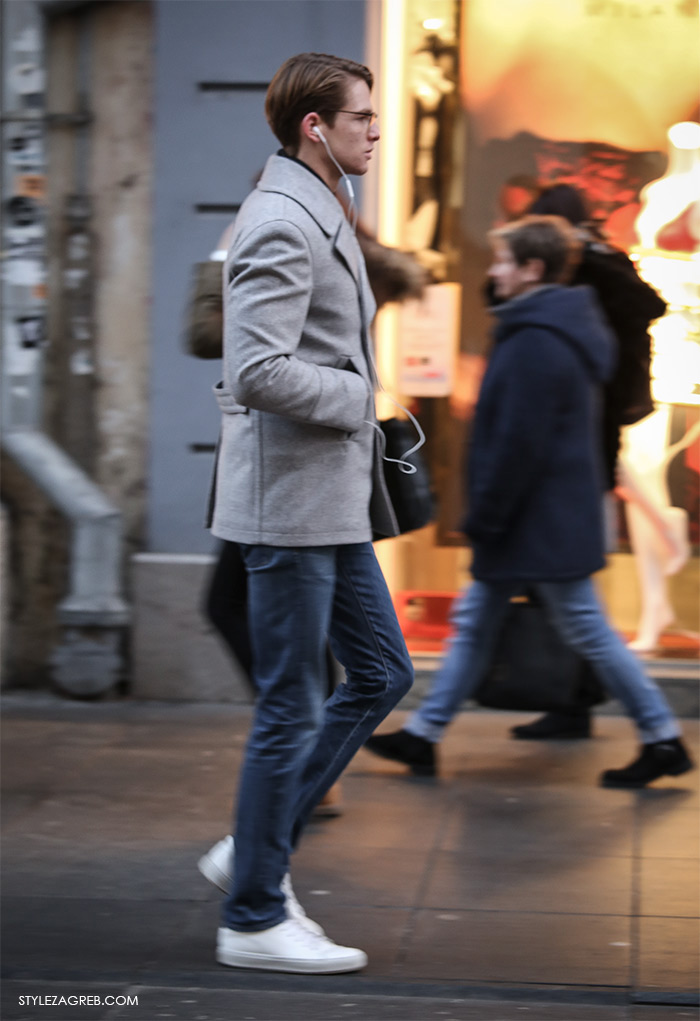 Shop best of Zagreb winter look, grey pea cote jeasn ans white sneakers man's winter casual look, street style ulična moda Zagreb treća adventska nedjalja, 17. prosinac 2016. kako kombinirati moda zima