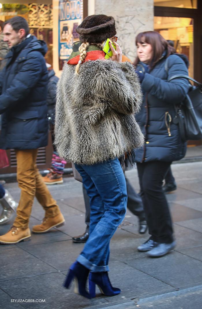 Shop best of Zagreb winter look, velvet blue ankle boots