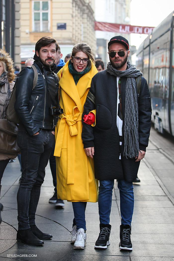 Street Style Zagreb Croatia, Mate Rončević Instagram, John Pavlish, Ivana Pavić žuti kaput i bijele tenisice