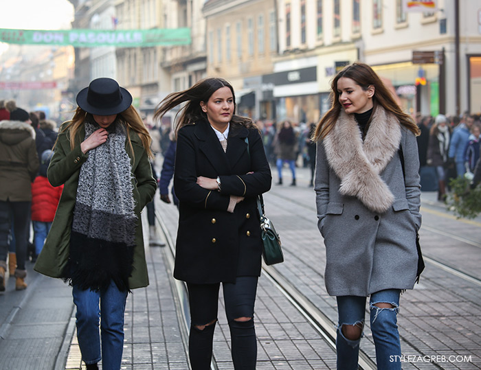 Street Style Zagreb Croatia, Shop best of Zagreb winter look, Women's winter fashion how to wear pea coat and ripped black jeans, hat, long oversized scarf, boyfriend jeans, green coat, Ulična moda u Zagrebu, špica subota Advent u Zagrebu, treća adventska nedjalja, 17. prosinac 2016. kako kombinirati moda zima, Andrea Aračić Instagram, Jelena Aračić Instagram