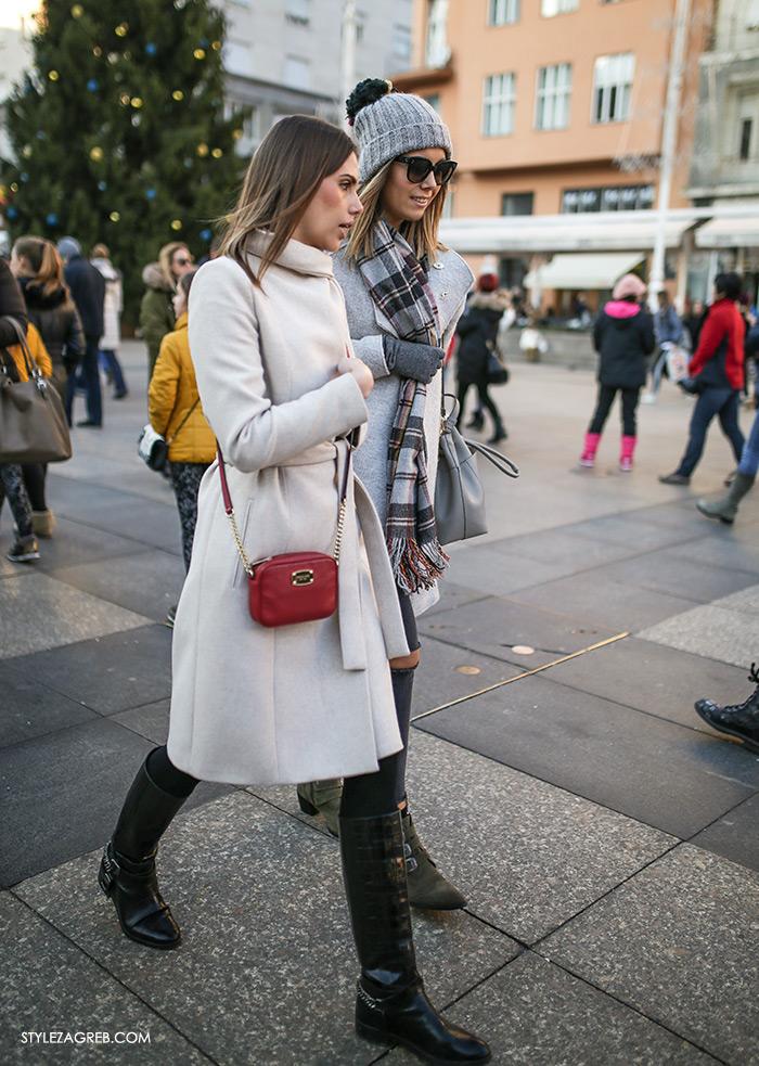 Street style Zagreb: ulična moda druga adventska subota šica Advent u Zagrebu, 3.12.2016. kakvi outfiti se nose zimska ženska moda, how to wear white coat