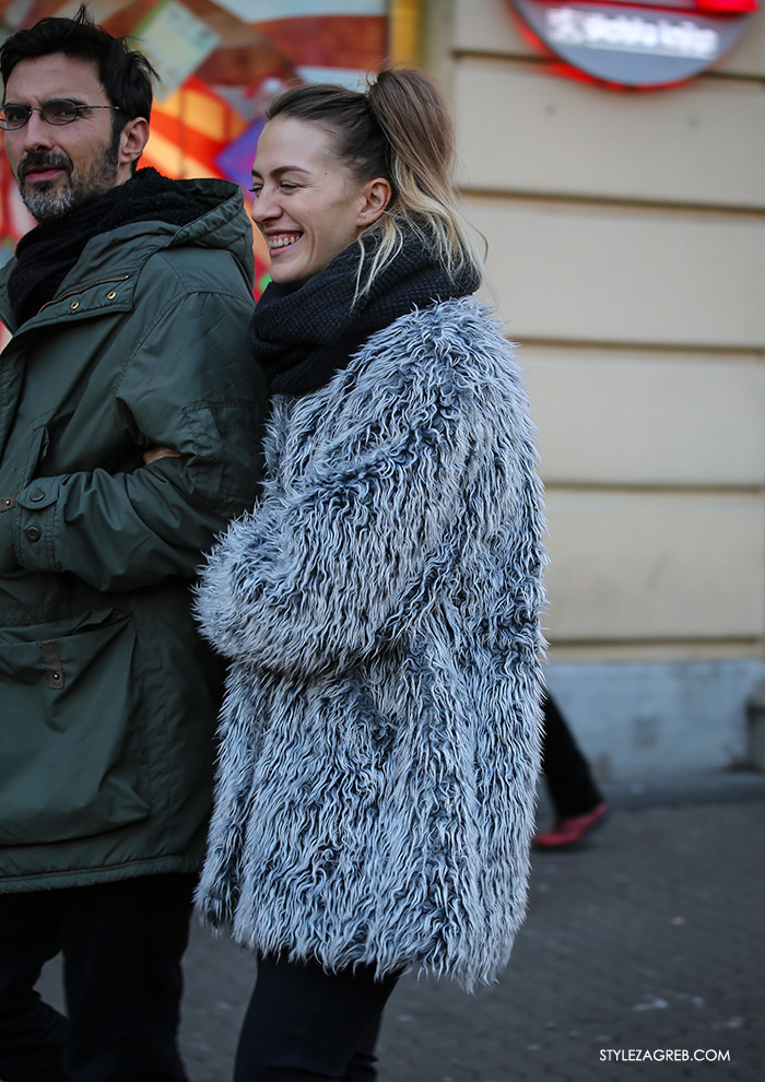 Klara Gržin najnovije, zima 2017, women's winter fashion what to wear street style how to wear grey faux fur coat and infinity scarf