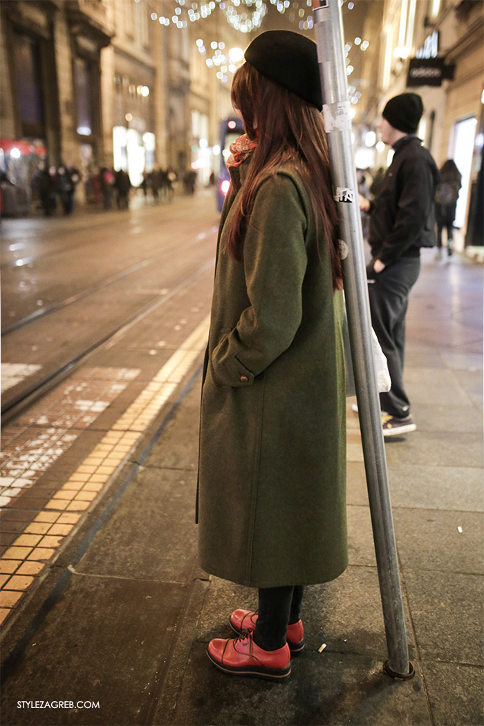 women's winter fashion what to wear street style how to wear green coat and red shoes