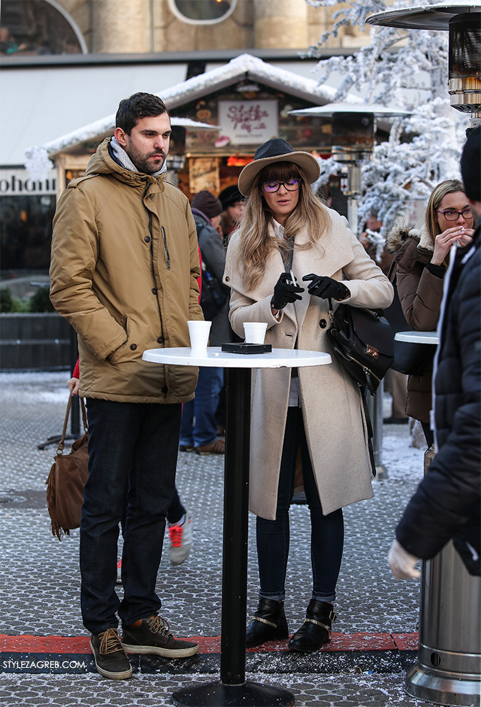 Women's winter fashion what to wear street style, couple, how to wear white coat, biker boots and a hat