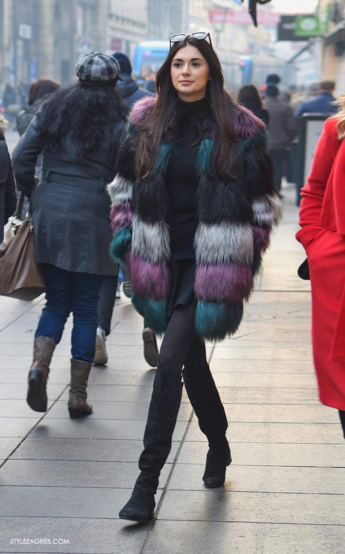 Zimska moda: Street style Zagreb voli bundice u bojama. Style Zagreb street style zimska ulična moda Zimski Zagreb se ozbiljno šareni od bundica, bundica gdje kupiti, faux fur coat where to buy how to wear