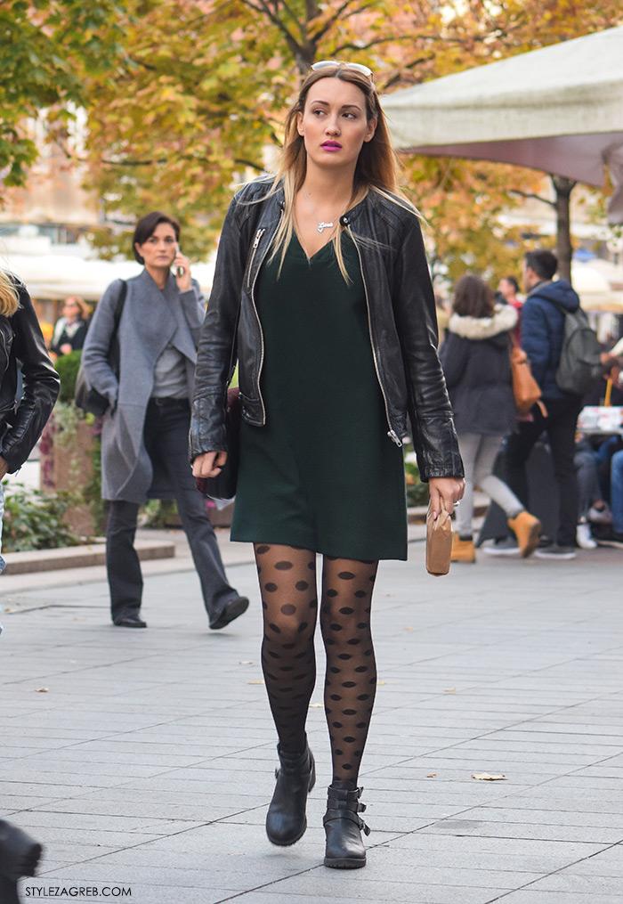 Style womens fashion, how to wear ankle boots and black leather dress, Zagreb trend ulična moda čarape od 20 dena novi street style trend, čarape s točkicama i gležnjače na vezanje ideje kako kombinirati, čizme preko koljena baršun Zara plave