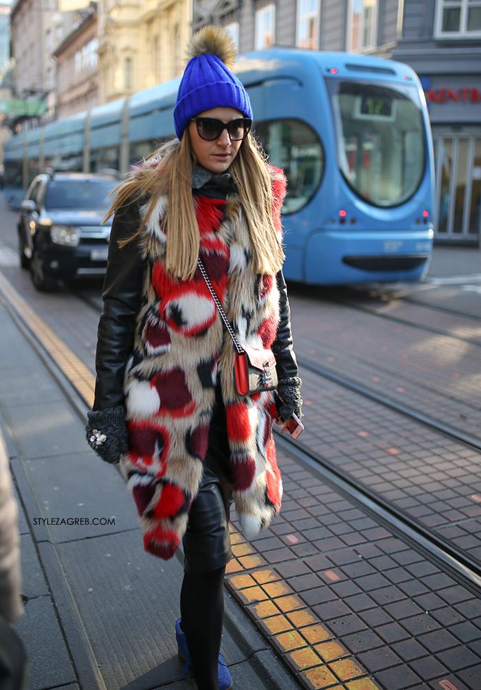 Moda zima styling trend fashion winter women's beanie, kapa s coflekom, šarena bundica bunda gdje kupiti kako kombinirati