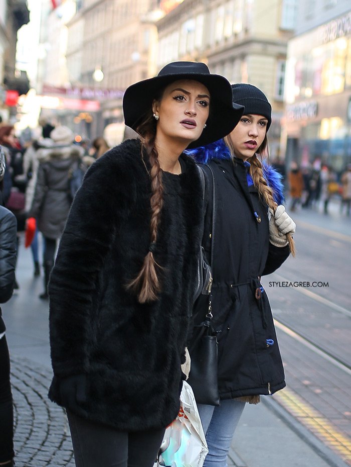 Style Zagreb - kako se našminkati za svečane prilike, frizura duga pletenica, womens street style winter fashion girl squad