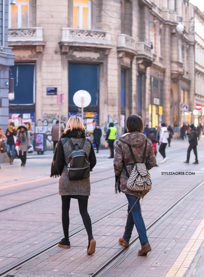 Style Zagreb: Fine torbice? Ma ne, djevojke u Zagrebu nose ruksake, MCM crveni ruksak, Chanel ruksak, Louis Vuitton kožni ruksak, ženska moda kako kombinirati gdje kupiti djevojke u Zagrebu Ilica Zara street style fashion ulična zimska moda zena hr Croatia