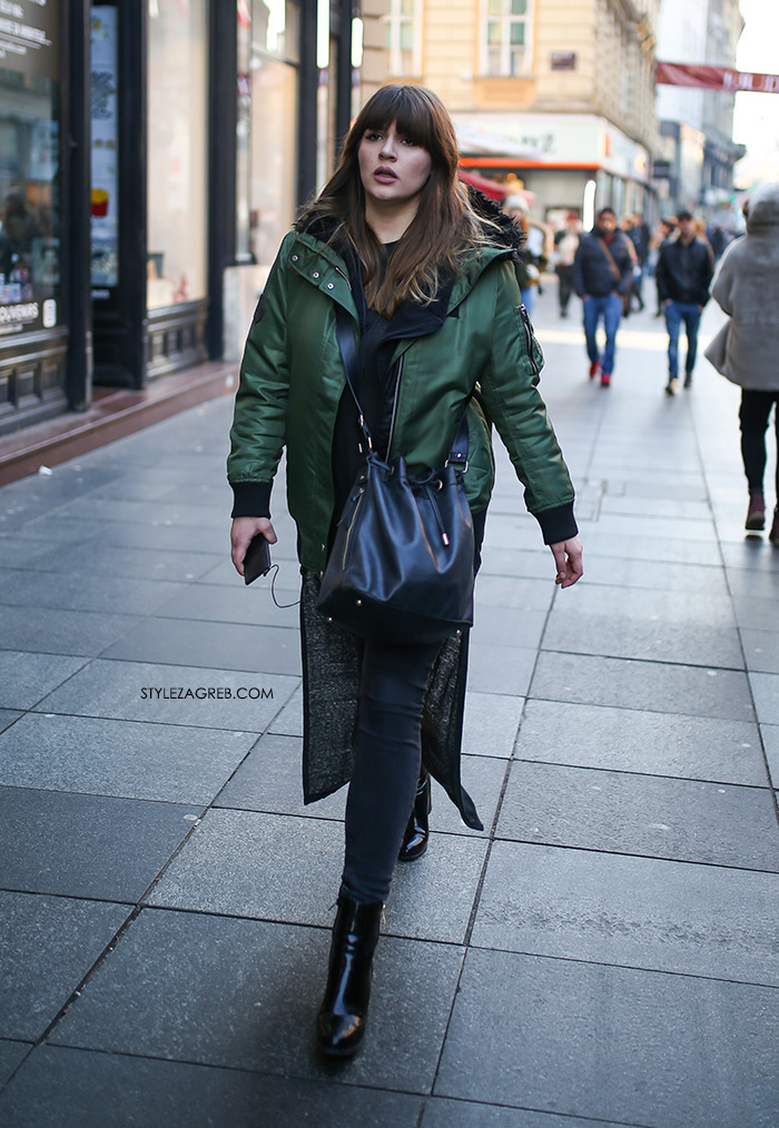Slojevito: evo kako postići izvrstan zimski outfit! Street style moda Zagreb, gdje kupiti dugi džemper, zelena bomber jakna, kaput bez rukava, winter women's fashion how to style wear sleveless coat styling tips ideas, how to wear bomber jacket