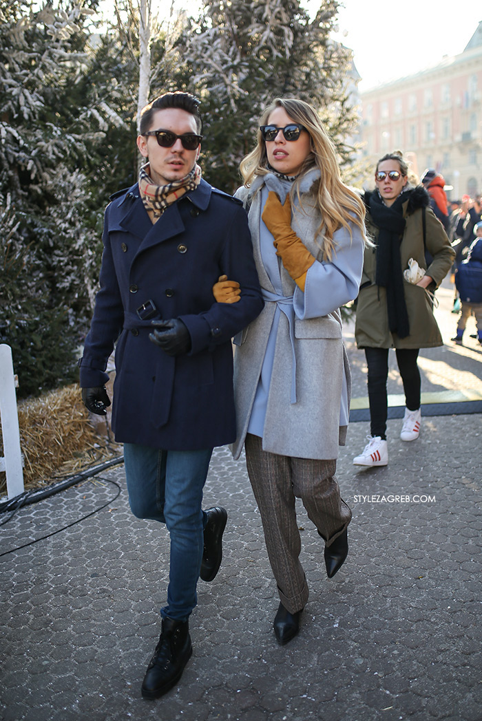 Slojevito: evo kako postići izvrstan zimski outfit! Street style moda Zagreb, gdje kupiti prsluk od štofa, kaput bez rukava, winter women's fashion how to style wear sleveless coat styling tips ideas, zimska moda, svijetlo plavi kaput s tri-četvrt rukavima
