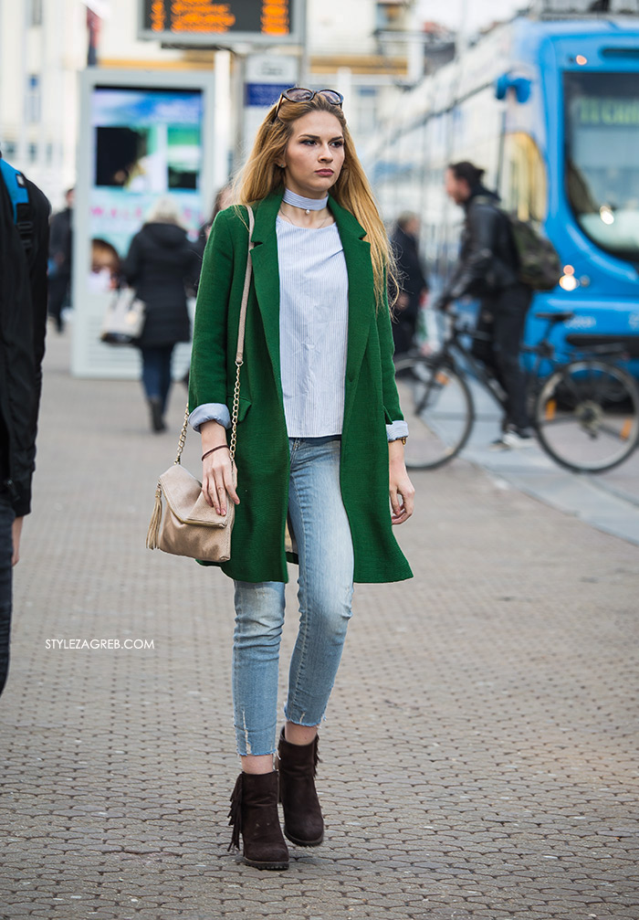 Frizure trendovi Cijena Facebook, Youtube 24 Index Instagram Slike Street style: gdje god se osvrnemo - boje! Street style spring women's fashion green coat jeans