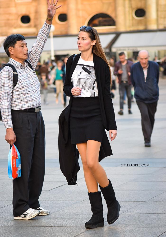 street style Zagreb Hrvatska spring fashion hr Croatia žena hr ulična moda najnovije slike špica tourist in Zagreb what to wear black mini skirt black bookts Instagram Facebook nose piercing