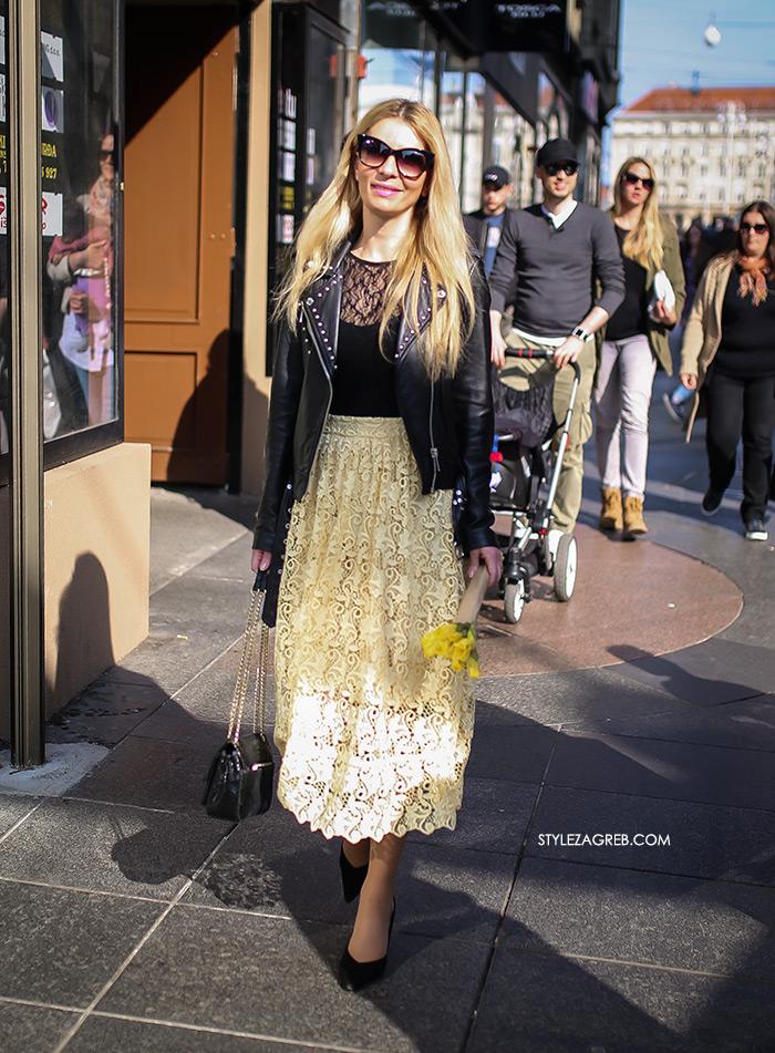 Žuta čipkasta suknja, nabrana u struku, midi duljine, Style Zagreb moda zagreb špica danas Ana Olivari Pavličić