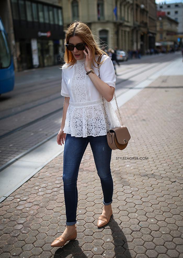 zagrebačka špica proljetna moda street style styling bijeli top peplum čipka traperice