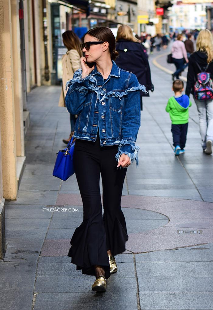 zvonolike hlače podrapana traper jakna s volanima Dorica Instagram