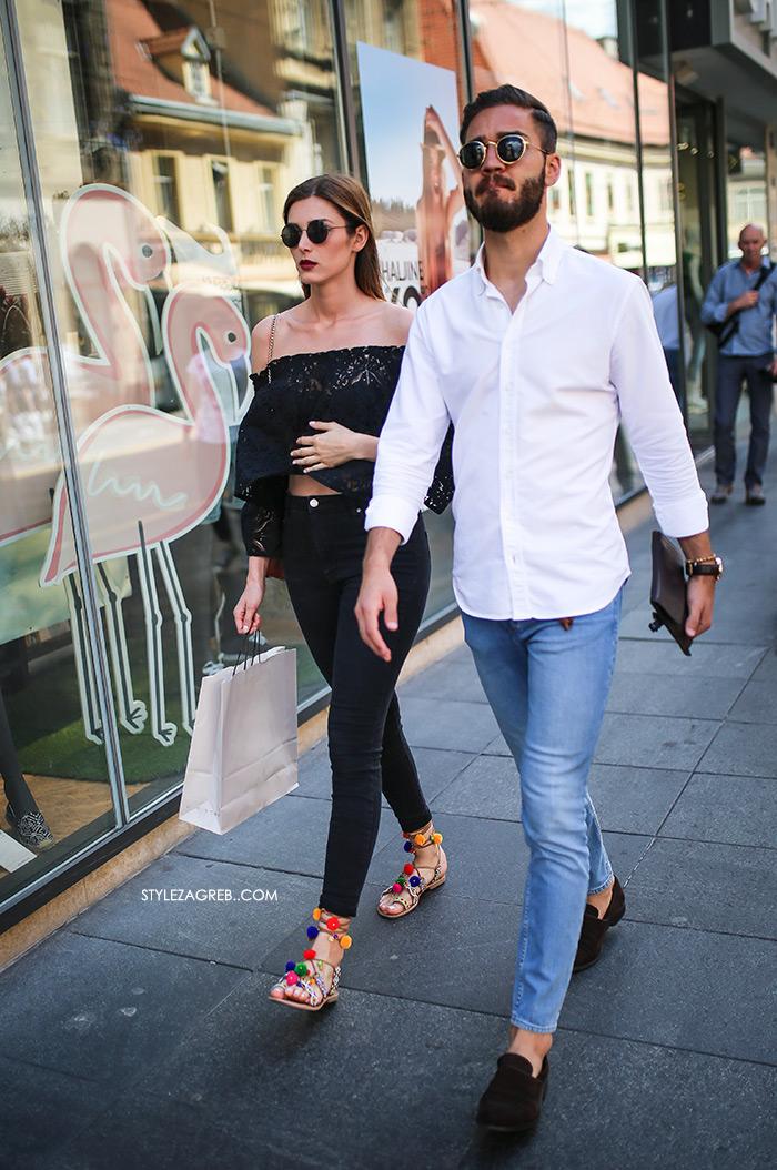 Ana Krijan Instagram kriijana zagrebačka špica street style zagreb kako nositi crni off the shoulder top sandale s pompončićima