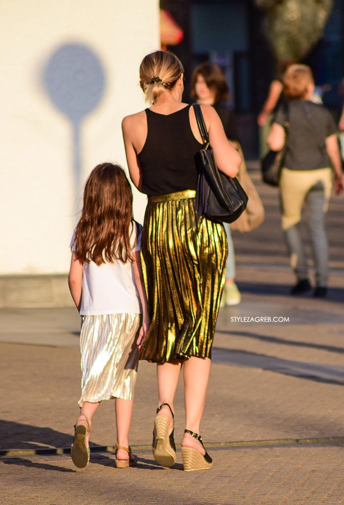 street style zagreb špica ljetna moda mama i kći u metalik suknjama