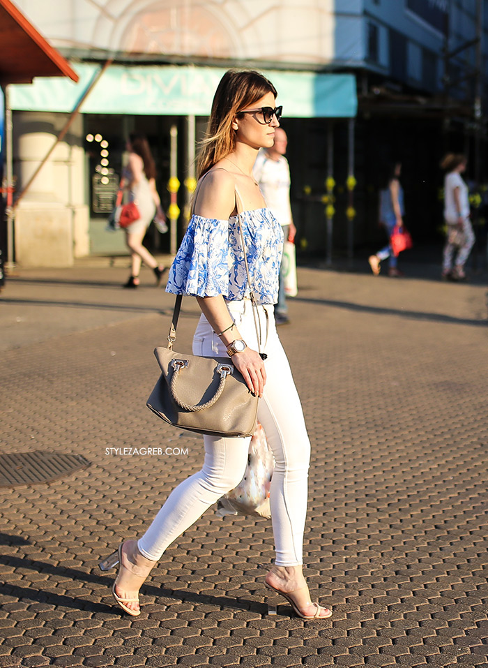 street style zagreb špica ljetna moda bijele uske hlače i off the shoulder top styling