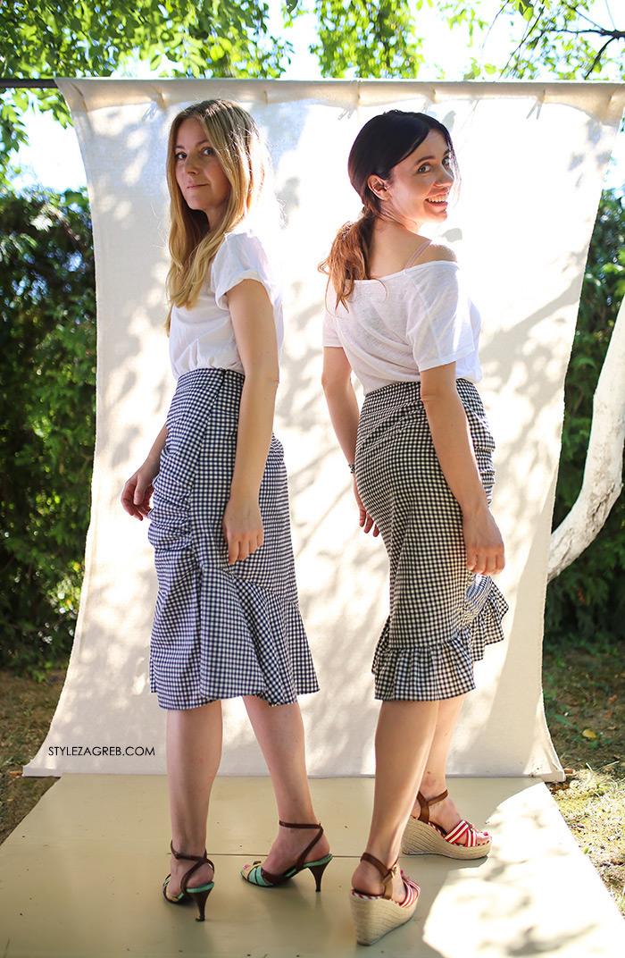 Sisters Jo moda by Style Zagreb, Slavica Josipović, Ana Josipović, gingham skirt, gingham suknja