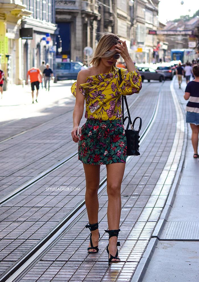 Paula Sikirić Instagram @paulasik žuta bluza s volanom na jedno rame minica i zandale Zara