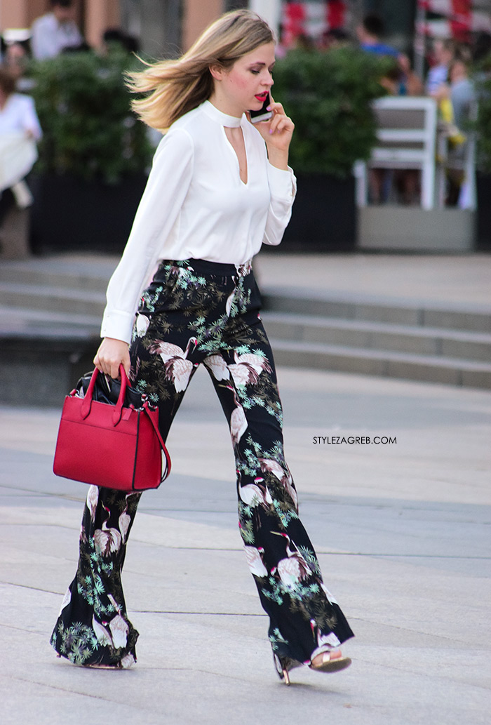 Zara široke hlače s labudovima street style žena sa stilom Zagreb street style ljetna moda srpanj 2017.