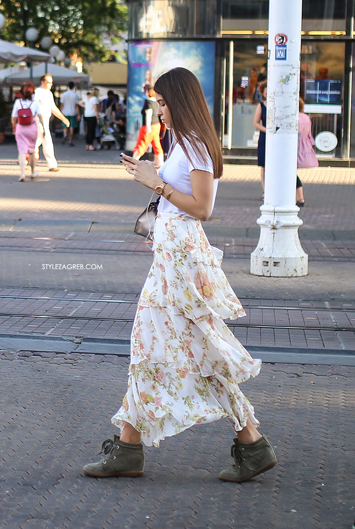 duga suknja s volanima žena sa stilom Zagreb street style ljetna moda srpanj 2017.