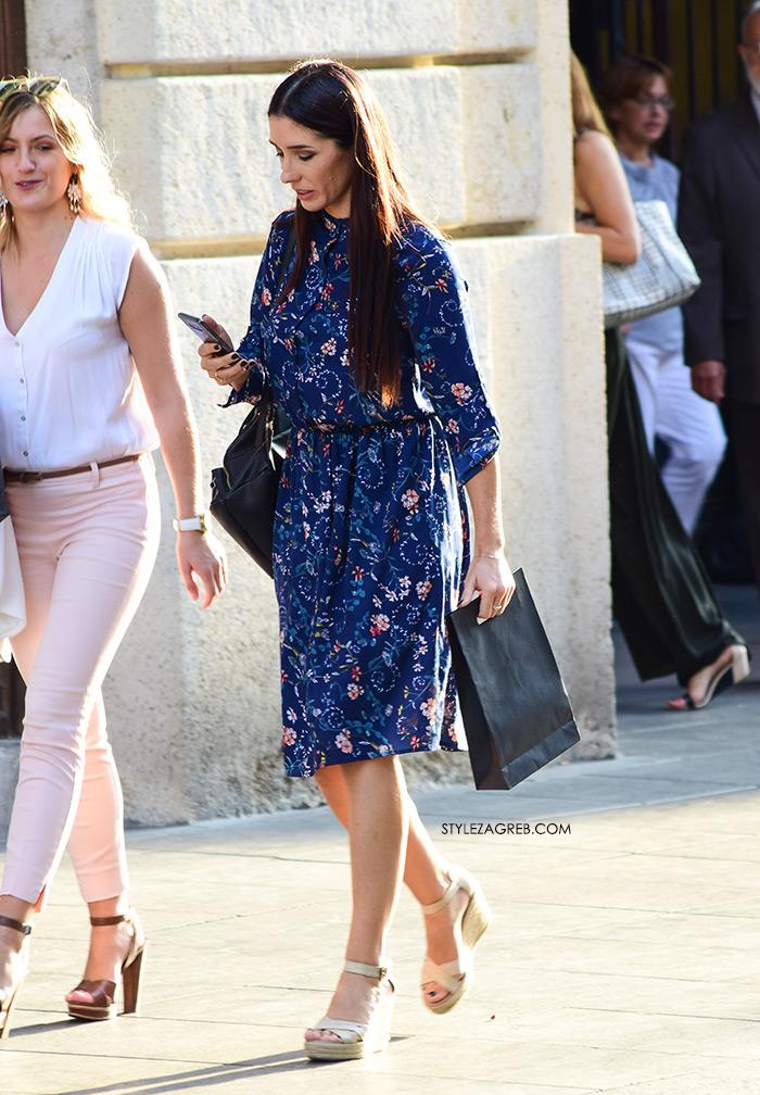 Ženska moda špica street style Zagreb kolovoz 2017 cvjetasta midi haljina