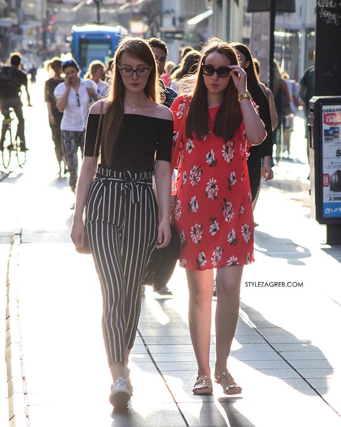 Ženska moda špica street style Zagreb kolovoz 2017 prugaste hlače na vezanje, cvjetasta mini haljina