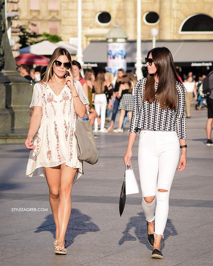 Ženska moda špica street style Zagreb kolovoz 2017 Zara cvjetasta bijela mini haljina