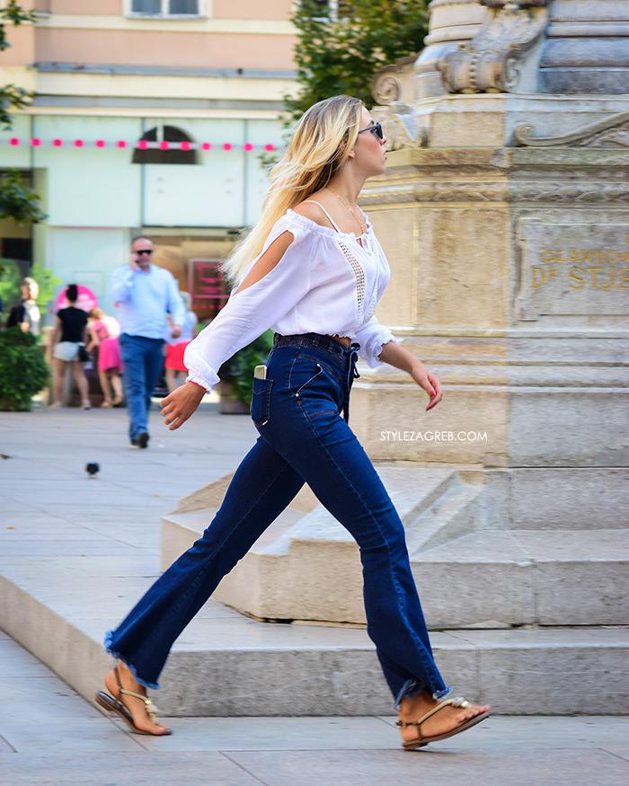 Street Style Zagreb Ljetni Traper Raport street style 2017 široke traperice i bijeli top s čipkom, cvjetni trg snimanje street style