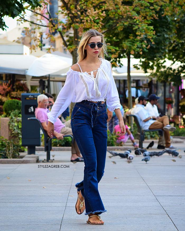 Street Style Zagreb Ljetni Traper Raport street style 2017 široke traperice i bijeli top s čipkom