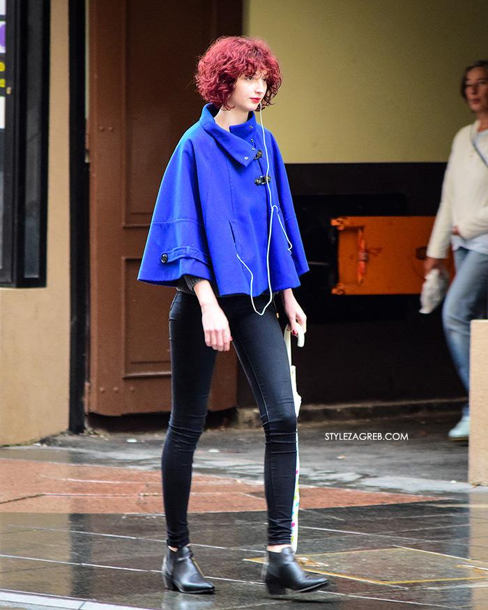 Zagreb street style jesen moda špica rujan 2017 plava pelerina