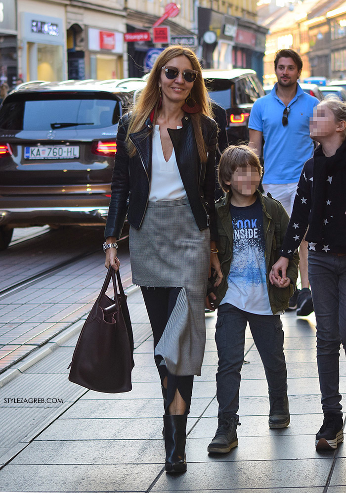 Maja Tedeschi street style Zagreb slike: pocijepana Balenciaga suknja