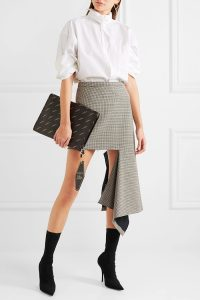 Balenciaga - Asymmetric Checked Wool-blend Mini Skirt