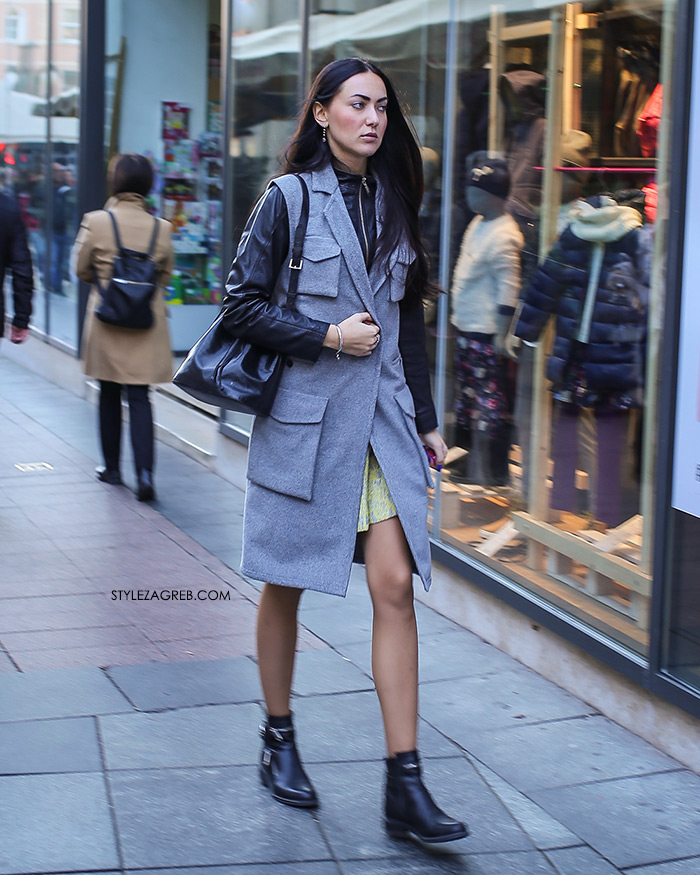 street style zagreb sivi kaput i crna kožna jakna špica