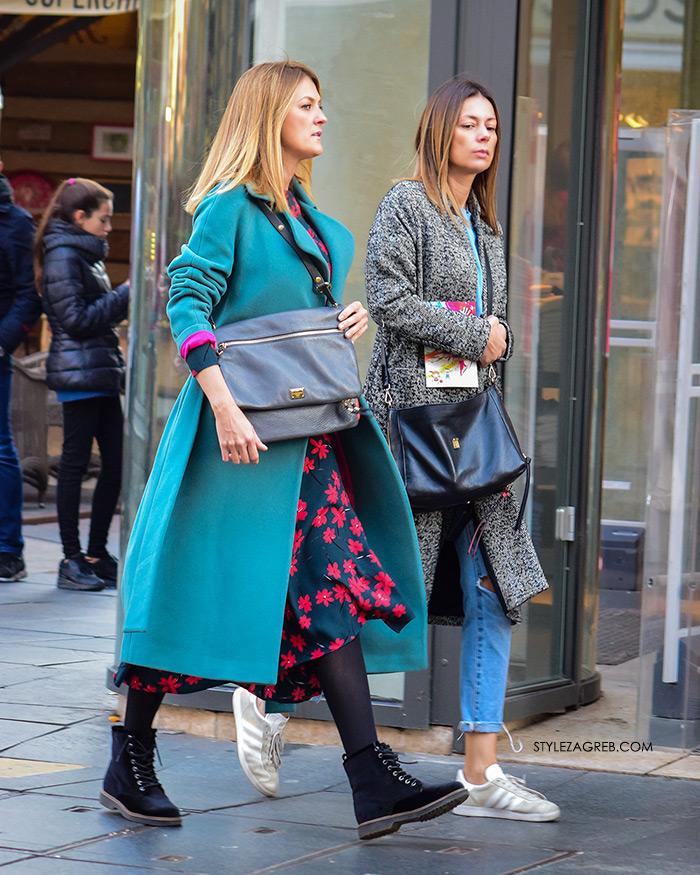 street style zagreb zeleni kaput špica H&M cvjetasta haljina