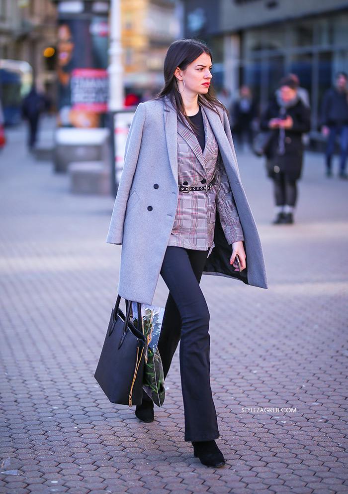 karirani sivi sako trapezice Zara street style Zagreb ženska proljetna moda