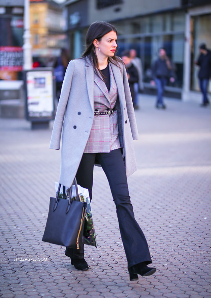 Sivi karirani sako trapezice Zara street style Zagreb ženska proljetna moda Ana Josipović Instagram