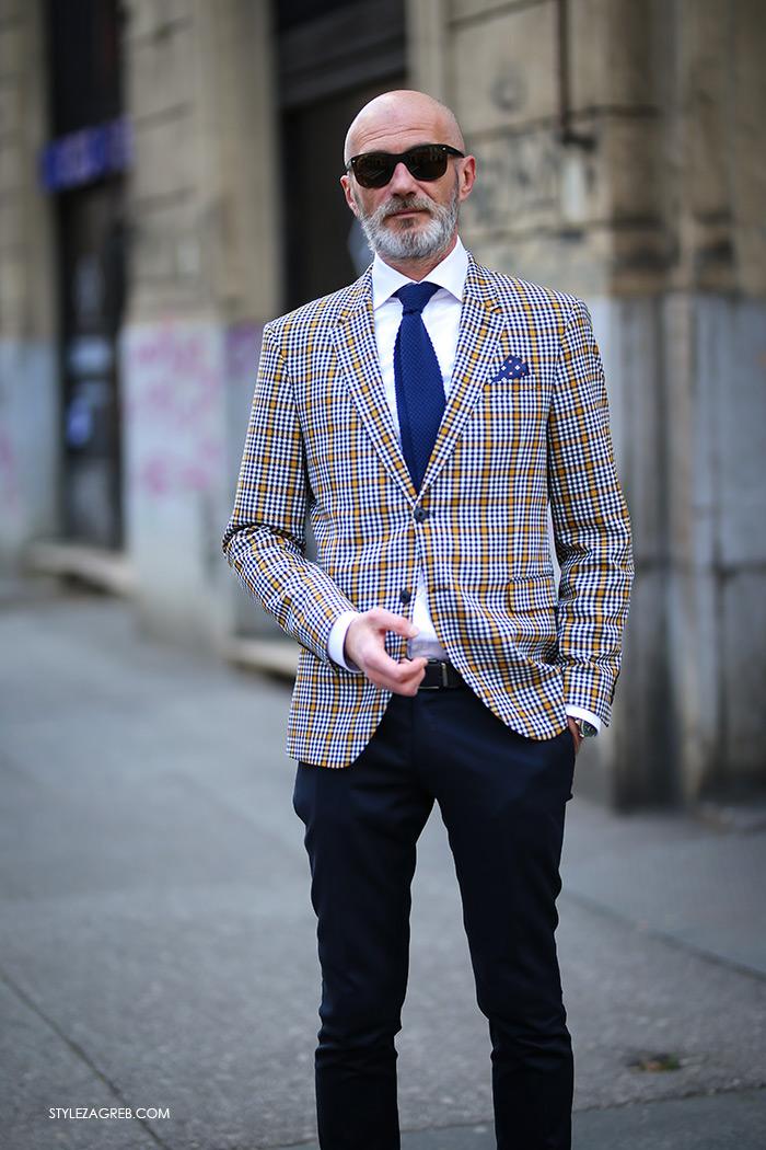 Alen Kolbas Instagram muški stil karirani sako Zara cigaret plave hlače cipele Church's mens shoes Style Zagreb špica street style