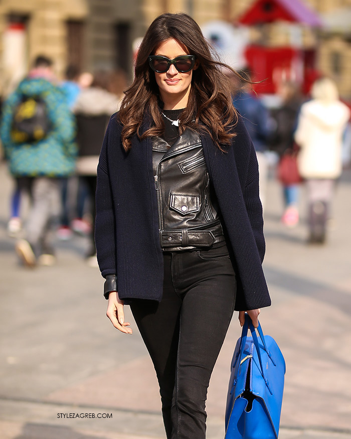 Bankarica Zrinka Barkiđija u bajkerskoj jakni   Style Zagreb street style zagreb styling ideje
